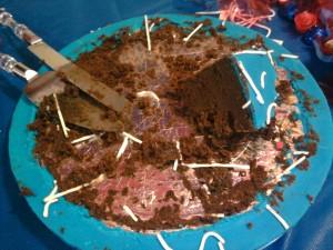 O que sobrou do bolo...